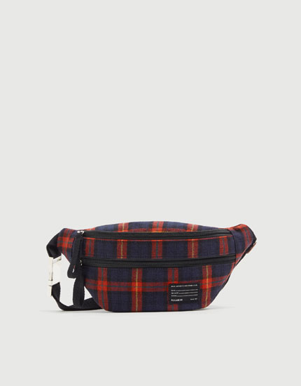 Red check belt bag