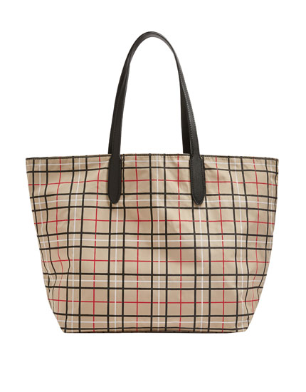 Reversible check tote bag