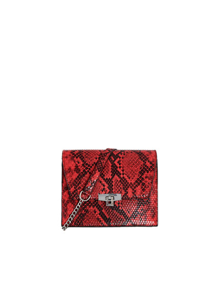 Red animal print crossbody bag