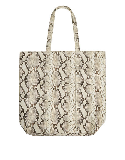 Shopper aus Stoff mit Animal-Print