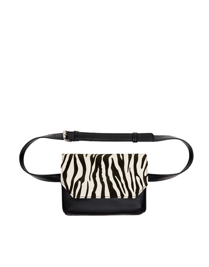 Animal print leather belt bag