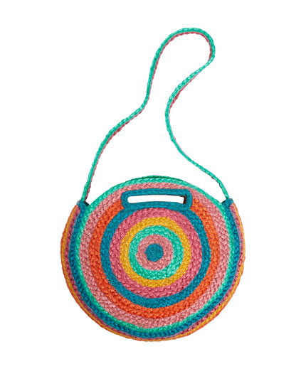 Multicoloured jute crossbody bag