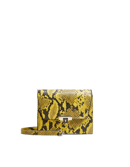 Yellow snakeskin print crossbody bag