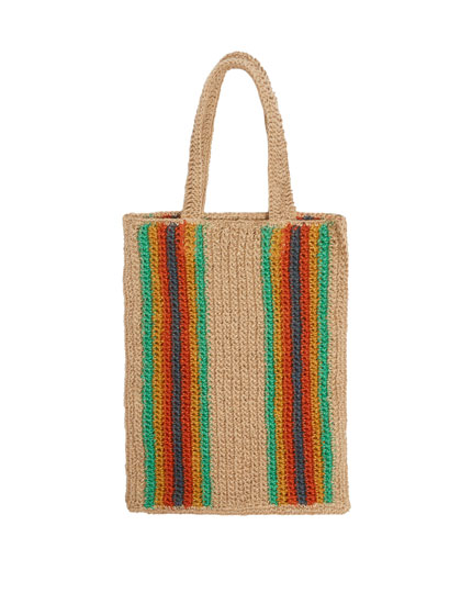 Colourful striped tote bag