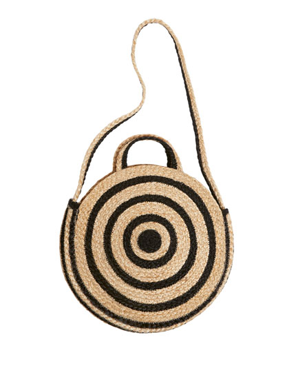 Two-tone jute crossbody bag