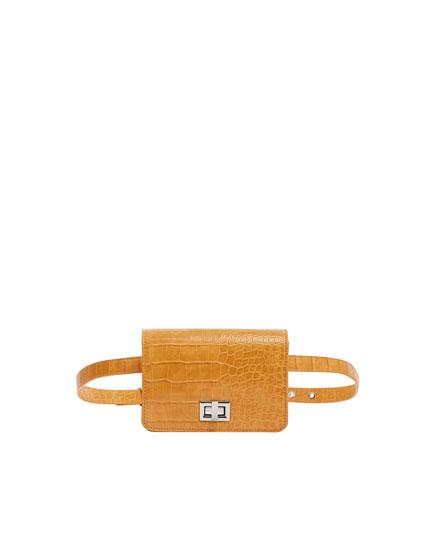 Mustard yellow mock croc mini belt bag