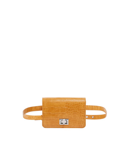 Mustard yellow mock croc mini belt bag
