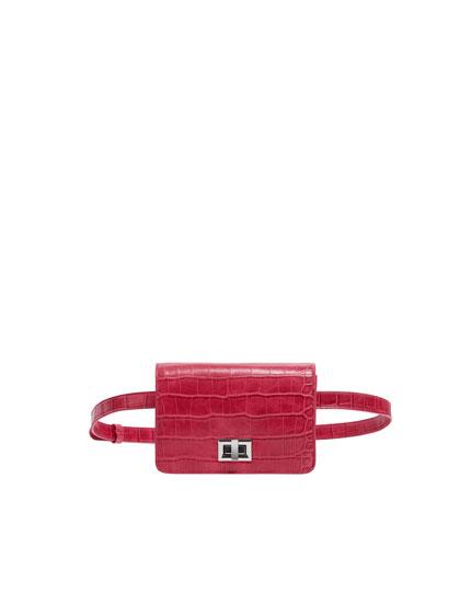 Fuchsia mock croc mini belt bag