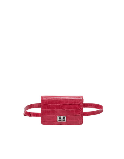 Fuchsia mock croc mini belt bag
