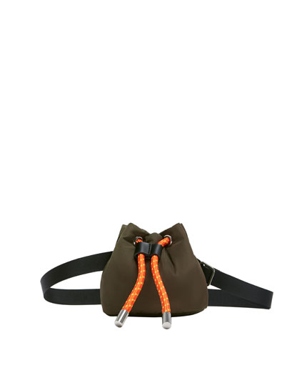 Mini bucket bag with orange drawcord
