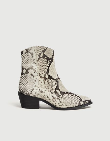 White leather snakeskin print cowboy ankle boots