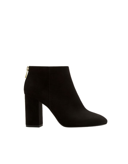 Basic black high-heel ankle boots