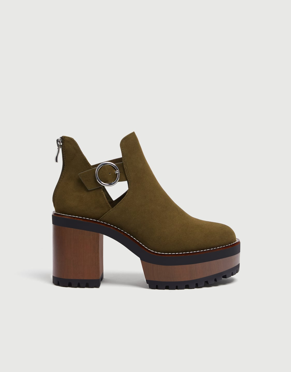50c73125280 Green block heel ankle boots - pull bear