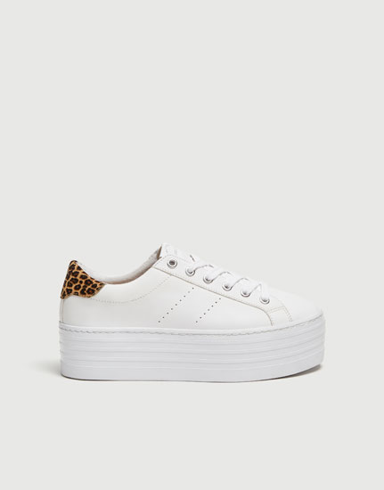 Leopard detail block heel trainers