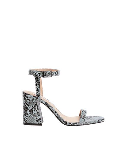 Sandales à talon imprimé animal