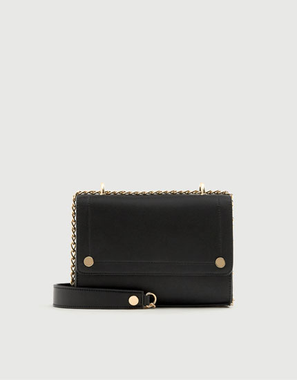 Black crossbody bag with stud detail
