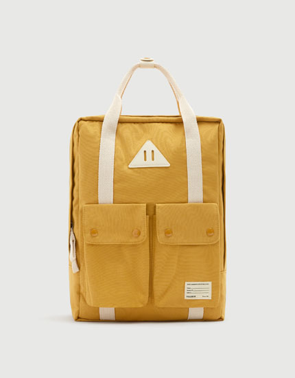 Mustard yellow school backpack