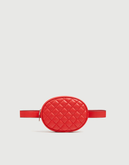 Red quilted belt bag