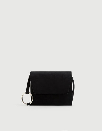 Black crossbody bag with ring detail