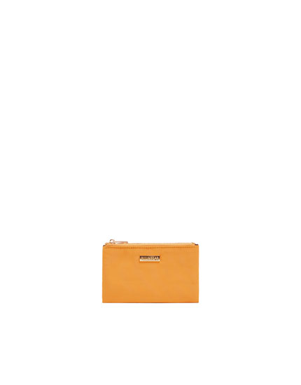 Double zip mustard yellow purse