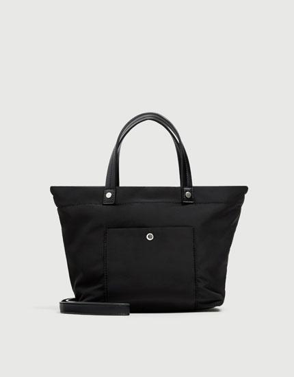 Black fabric tote bag