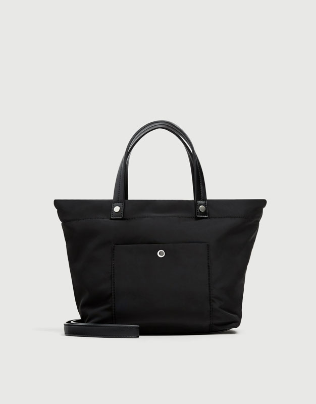 Black Fabric Tote Bag by Pull & Bear