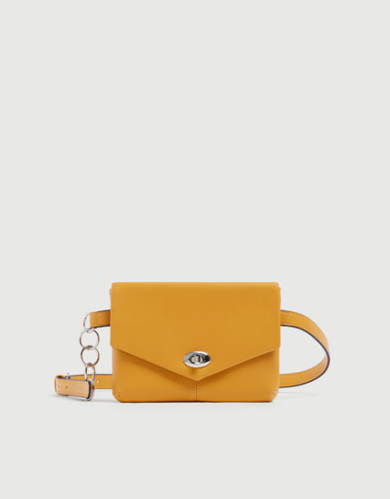 Mustard yellow belt bag with chain detail