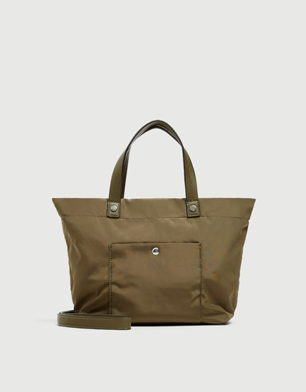 Green fabric tote bag