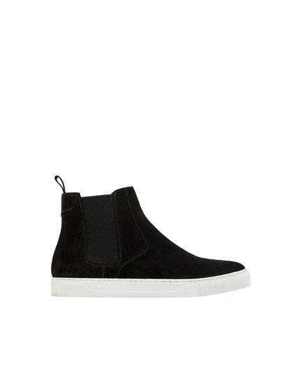 Bottines sport noires cuir