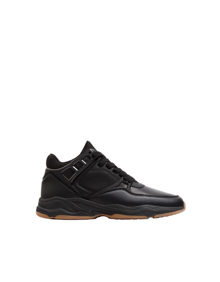 Black high-top trainers with detailing
