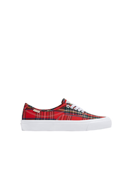 Red check print trainers