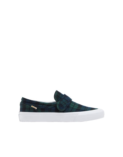 Green check print trainers