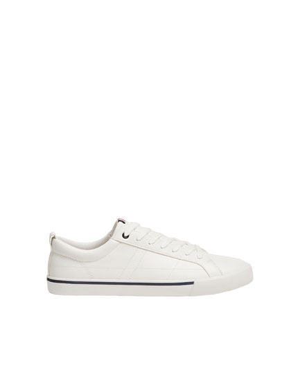 White trainers with stripe detail