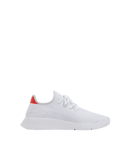 White mesh trainers