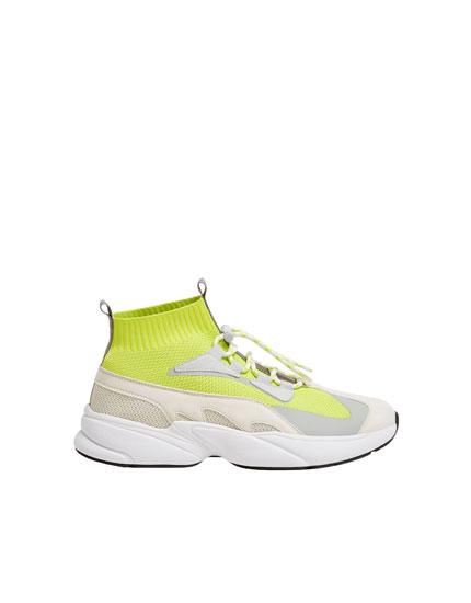 Neonfarbene Sneaker-Stiefelette