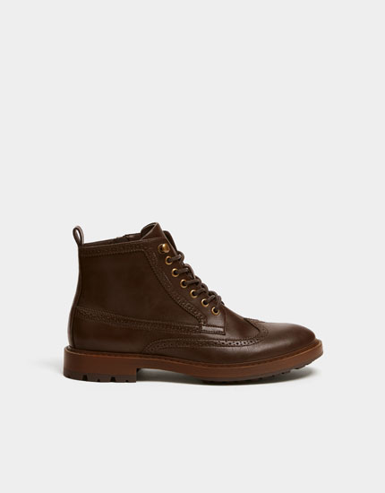 Brown brogue worker boots