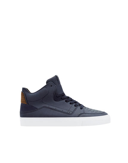 Navy blue die-cut high-top trainers