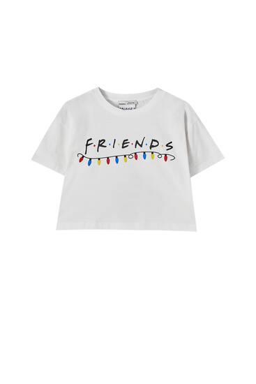 Playera Friends blanca navidad