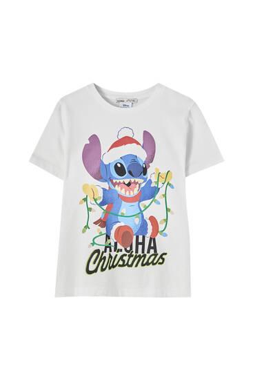 Playera Lilo & Stitch blanca navidad