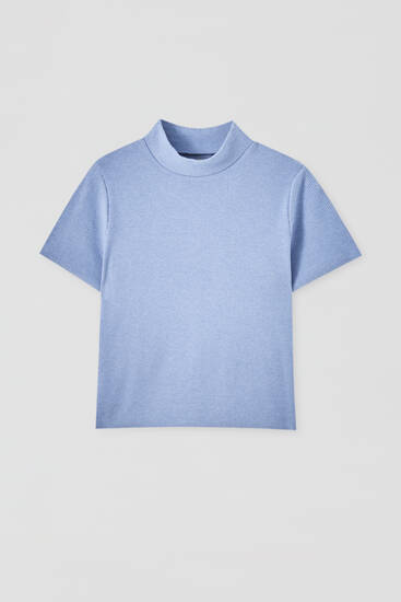 Soft-touch high neck T-shirt