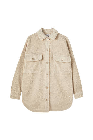 Long teddy overshirt with pockets