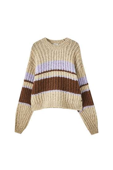 Knit sweater with lilac stripes