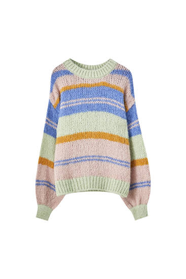 Bright colourful stripe knit sweater