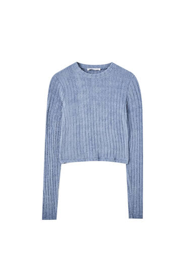 Wide-ribbed blue sweater