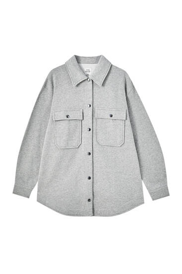 Grey overshirt with front pockets