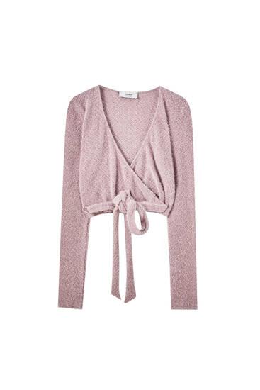 Žinylkový růžový baletní kardigan