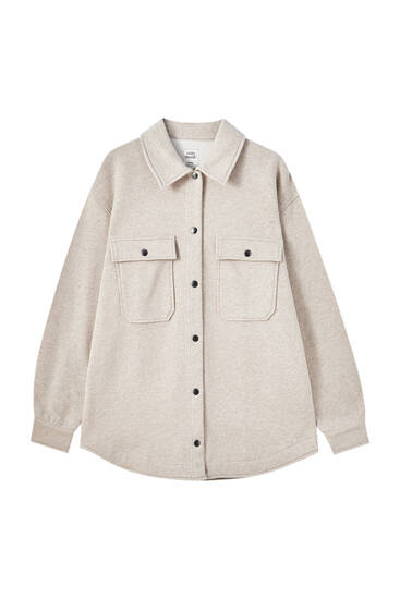 Beige overshirt with pockets