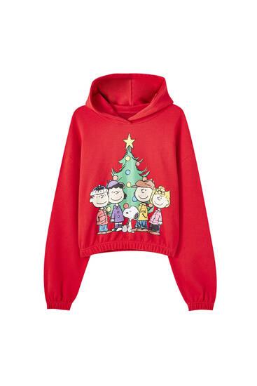Červená vánoční mikina Snoopy