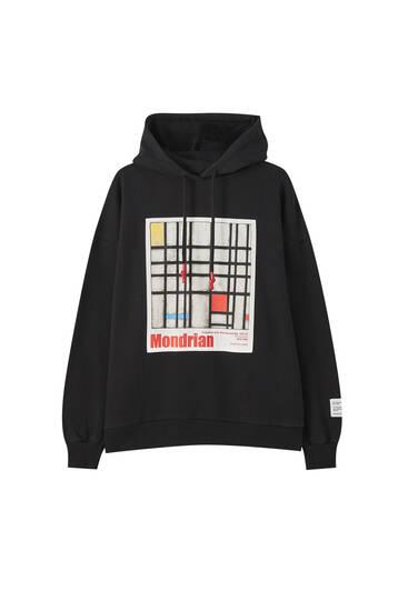 Black Piet Mondrian hoodie