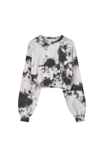Tie-dye sweatshirt with elastic hem